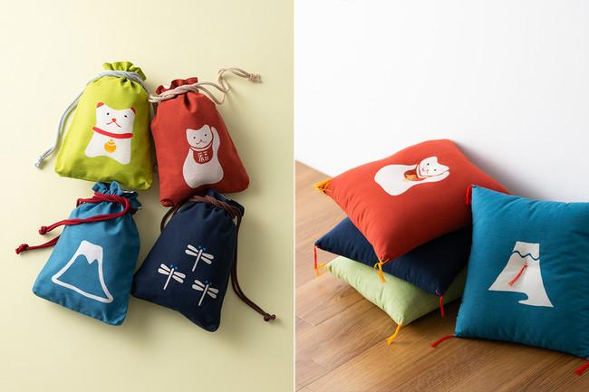 合財袋(左)と、本縫い小座布団(右)。織元が手がける木綿生地に染め抜かれた「招き猫」等の縁起柄は、とってもキュート!
