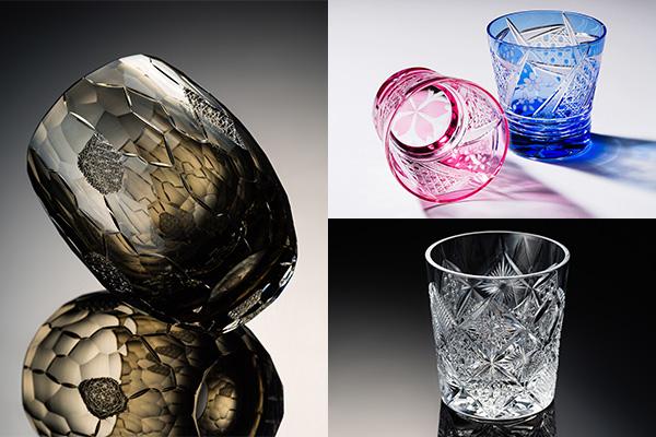 左から時計回りに、1位 鍋谷海斗 作「氷晶」、2位 清水秀高 作「SAKURA舞う」、3位 山田のゆり 作「彩」