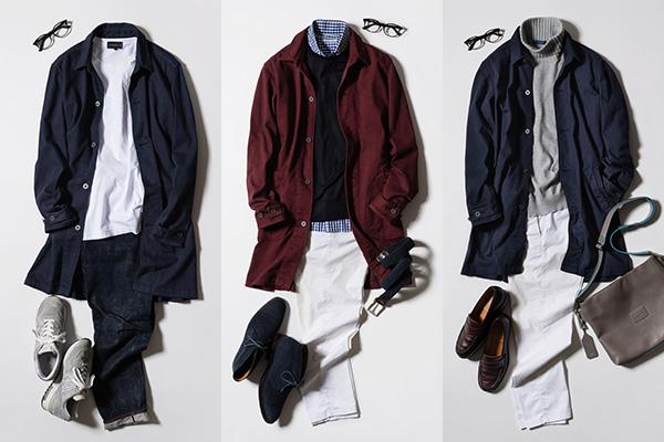 スタイリング例。左から順に<春>Tシャツに羽織るだけで爽やかスタイル完成!<秋>ワインレッド×ギンガムチェック=永久不滅のコーデ!<初冬>上質なカシミヤタートルで暖かさもKEEP!