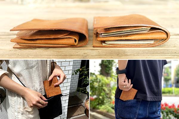 左:通常時、右:札・カード・小銭を全て収納した状態。厚さはほとんど変わらない!