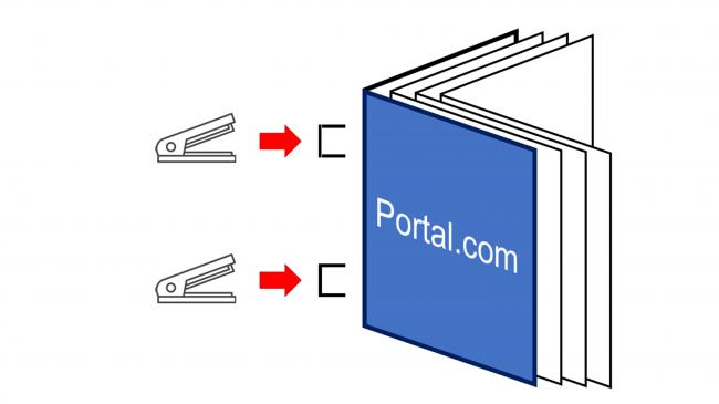 折り目を付け、表紙をこちらに向け、折り目の上下2箇所をステープラーで綴じ、作品を完成させててください。