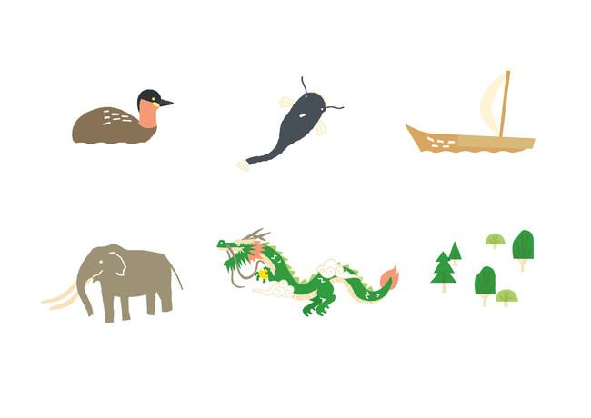 ゾウや龍、丸小舟など「びわこのちから」と関連したイラストを使用。(※イメージ)