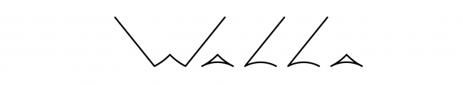 """WALLA""ロゴ デザイン:浦川彰太"
