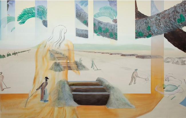 Hiroka Yamashita, 真昼の塩田 Midday Saltpan, 2021 Acrylic and oil on canvas, 145.5x227.3cm (C)THE CLUB