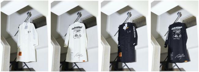 左から、A2Z(TM) x bodysong.「ATELIER STAFF COAT WHIITE」「ATELIER STAFF COAT BLACK」