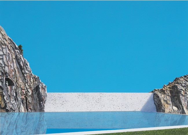 Naoya Inose, plate 1 blue and white x, 2021, acrylic and oil on panel, 61.5 x 91.5 cm (C)THE CLUB
