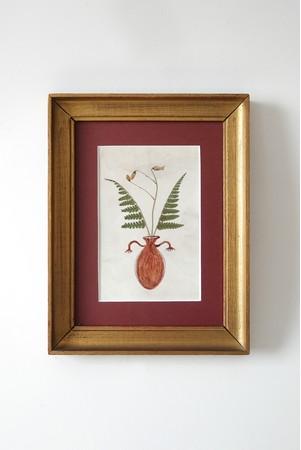 スピリアールト・クララ Ikebana Collection 2018 100x155mm(額装なし) 画仙紙に乾燥した植物、アクリル絵具、血液