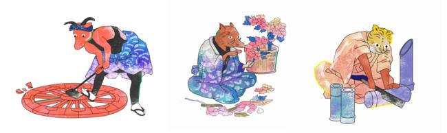 (左)丑/車匠:荷物をを運ぶ牛は車輪を作る(中)亥/牡丹造花師:イノシシは牡丹の造花師に。(イノシシの肉は牡丹肉と呼ばれる) (右)寅/竹細工:虎は竹林に住んでいるため、竹細工の職人に。