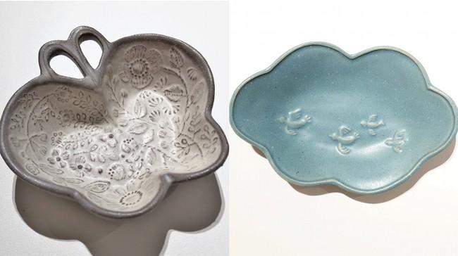 (左)蝶々のブローチ皿(右)鳥と雲の皿