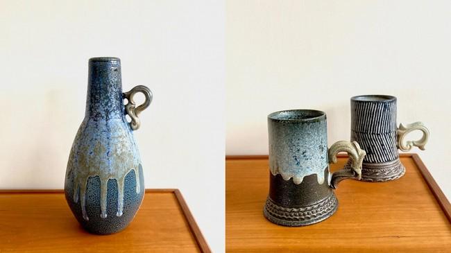 (左)取っ手付き花器(右)マグ