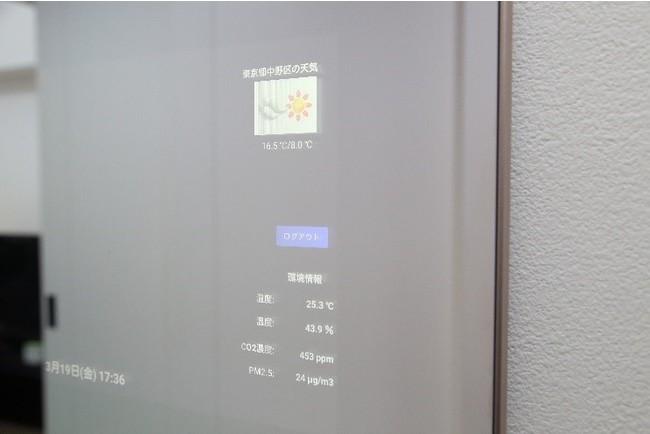 当社のスマートミラーに各種情報を表示 (健康情報・空気環境センサー情報・周辺天気など)