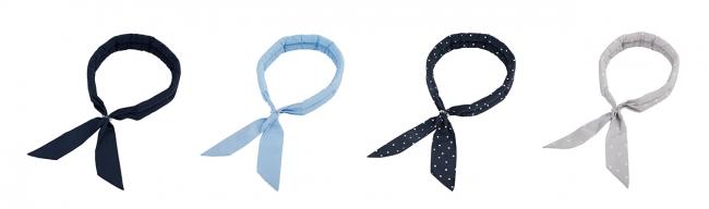 (サマースカーフ フリーサイズ 左からネイビー、ライトブルー、水玉(ネイビー)、星(ライトグレー)