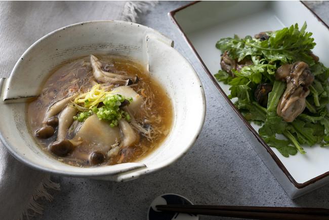 牡蠣と春菊のサラダ&里芋の蟹餡かけ