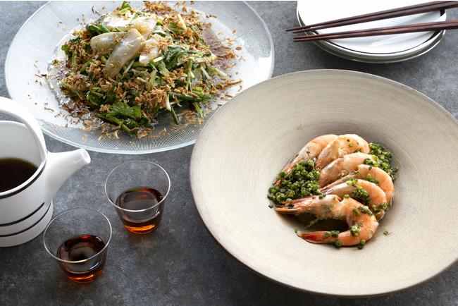 白身魚の中華風サラダ&天使海老の紹興酒蒸し