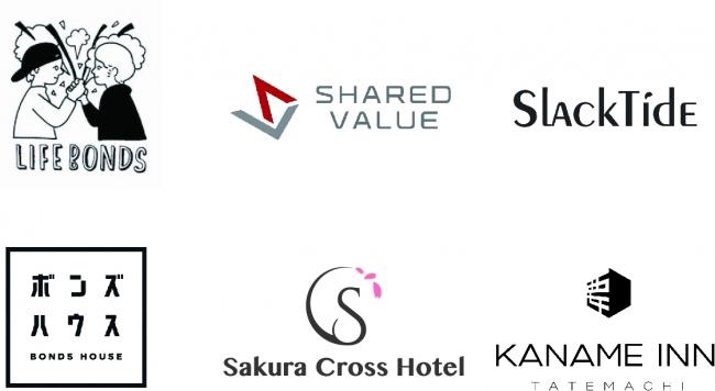 画像上:企業ロゴ、画像下:ホテルロゴ