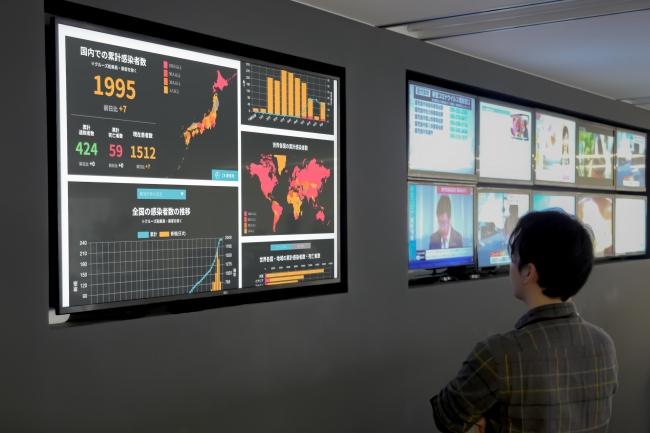 東京・千代田区のJX通信社本社では、SNSやWeb上の新型コロナウイルス関連情報を常時監視中です