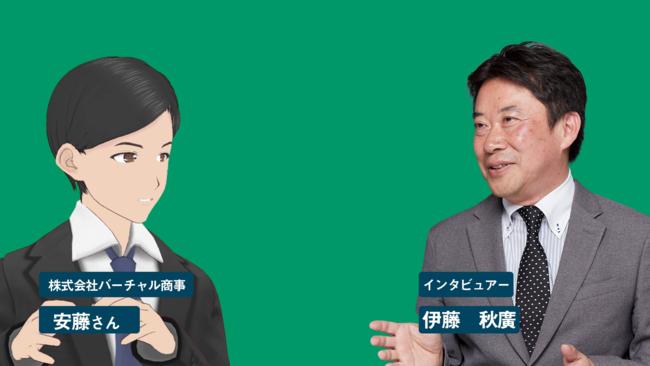バーチャルキャラ化したインタビューイーとリアルなインタビュアーの対談動画イメージ