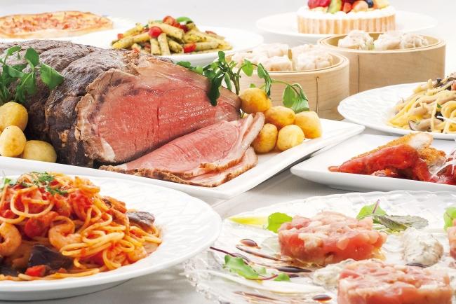 ローストビーフを中心とした洋食・中華・和食・スイーツのブッフェ料理(イメージ)