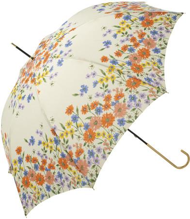雨の日も、気分が明るくなるようなカラフルなお花がいっぱいの傘。