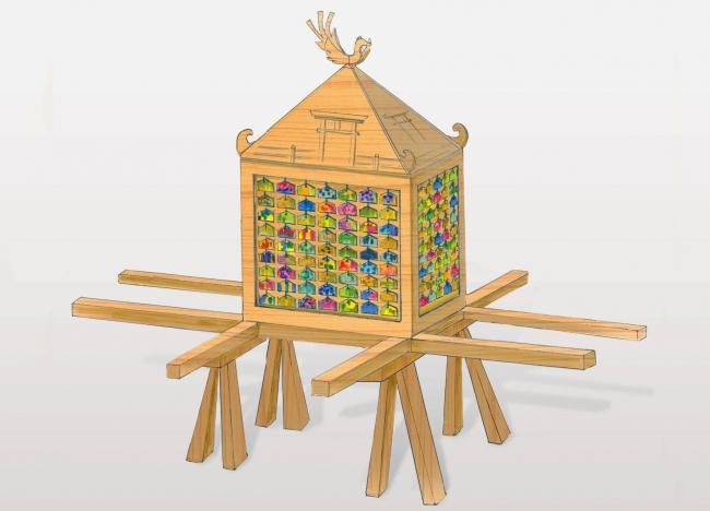 障がいのある子ども達、そうでない子ども達がともにつくり、ともに担ぐ「みんなの絵馬神輿」は芸術祭の象徴です