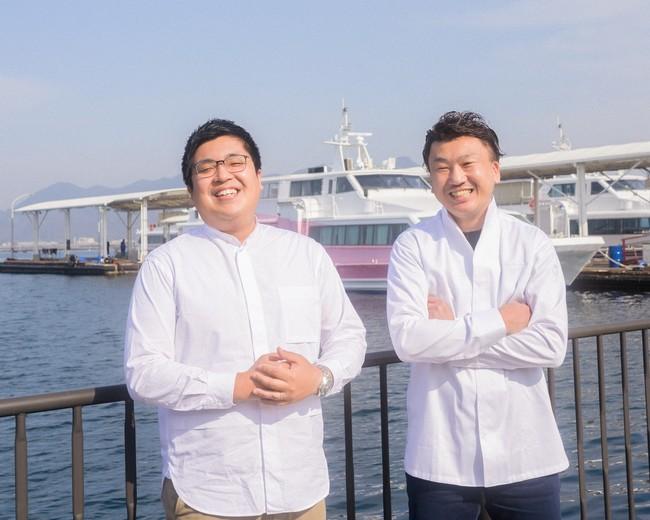 「江田島荘」支配人・阿部さん(左)と、小竹シェフ(右)