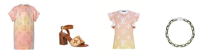 (左から)Tシャツドレス ¥820,000(限定)、サンダル ¥118,000(先行)、Tシャツ ¥112,000(先行)、ネックレス ¥305,000(限定)