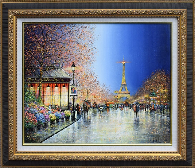 ギィ・デサップ「パリの花屋」油彩15号