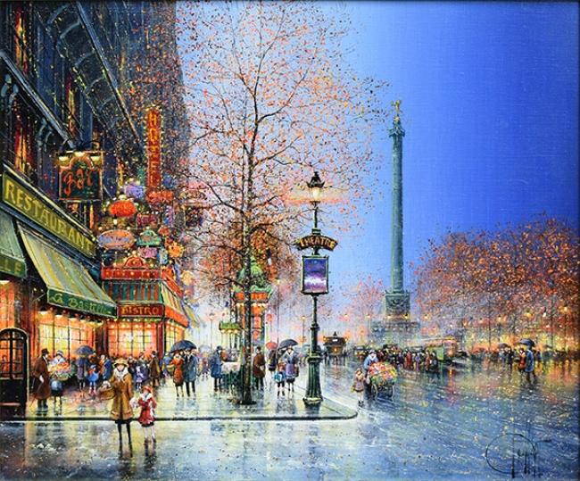 「パリ、夕暮れのバスティーユ広場」油彩10号