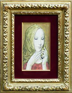 「ヴェールを被る若い女性」1965年頃 油彩 26.9×15.3cm