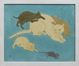 「雌猫と子猫と鼠」 1925年 ラップ石 46.5x55cm
