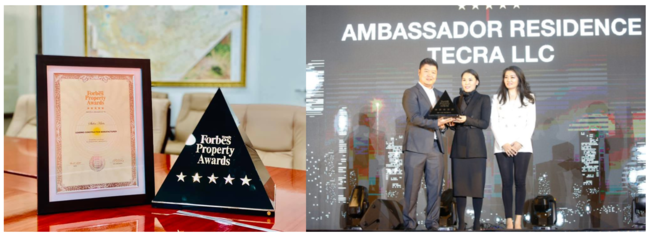 Forbes Property Awards TECRA Mongolia director Tsolmon(左) Invescore Property社長 Uyanga(中央)