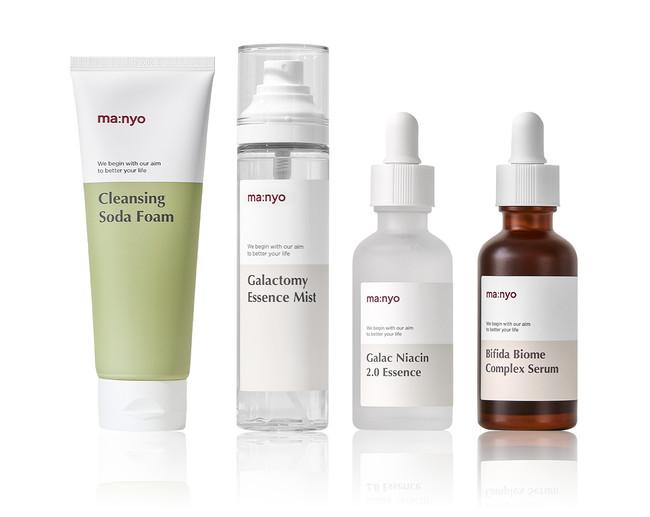 (左から) ソーダ洗顔料、ガラクトミーエッセンスミスト、ガラクナイアシン2.0エッセンス、ビフィダバイオームコンプレックスセラム