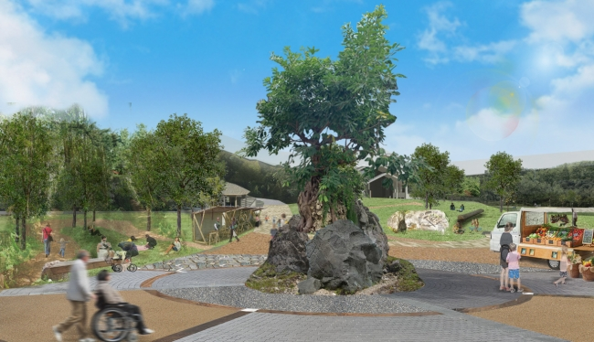 シンボルツリー「アコウの木(イメージ)」がそびえる『木の庭』