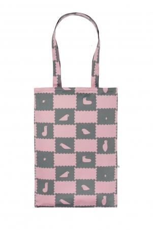 トートバッグ ピンク&グレー