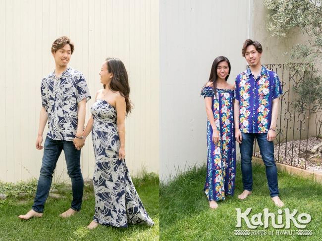 リゾートでの挙式やパーティーにもオススメのアロハシャツと、何通りもの着方ができるサッシュスカートが人気です。