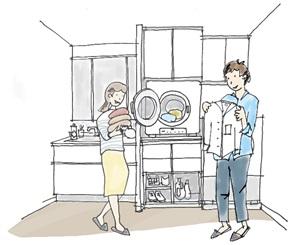 「乾太くん」と大型リネン庫を設置し、洗濯・乾燥・収納が1カ所で完結する洗面室イメージイラスト