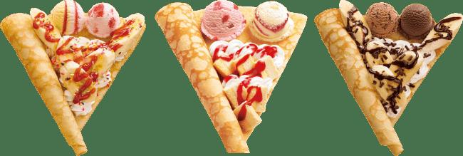 左)カラフルいちごバナナ&アイスクリーム、中)ストロベリーベイクドチーズケーキ&アイスクリーム、右)チョコバナナ&アイスクリームクレープ