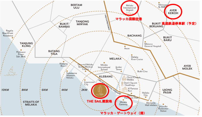 THE SAILはマラッカの観光エリアと新しく開発が進む埋め立てエリアの中心に位置する