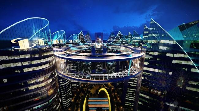 高さ250mの9つのタワーを繋ぐ長さ330m空中歩道