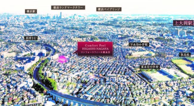 ※航空写真は2021年1月、現地付近を撮影した画像にCG加工を施したものです。光の柱は所在地を示すもので、建物の規模や高さを表現したものではありません。