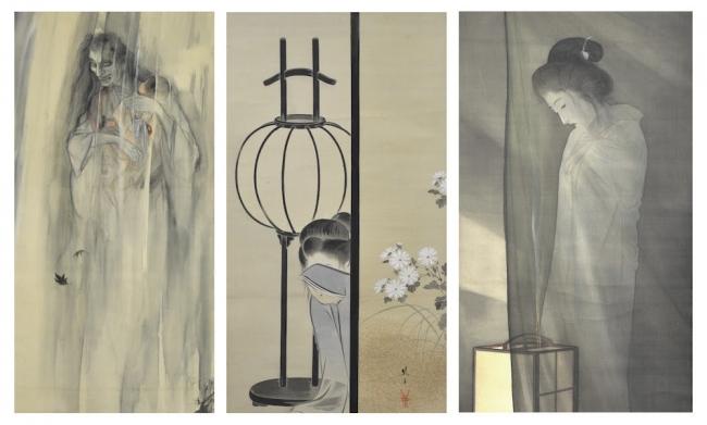 左から、伊藤晴雨「怪談乳房榎図」、池田綾岡「皿屋敷」、鰭崎英朋「蚊帳の前の幽霊」。 すべて全生庵所蔵。