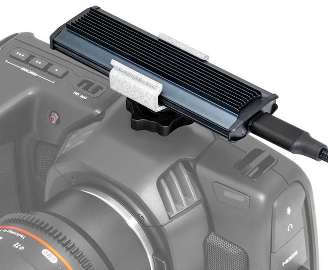 Delkin JUGGLER(TM) USB 3.2 SSD mounted on a Blackmagic Pocket Cinema Camera 4K