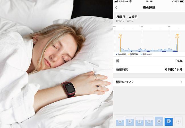 睡眠の深さや質を計測。睡眠のリズムに合わせて爽やかな目覚めを促すアラーム機能も内蔵。