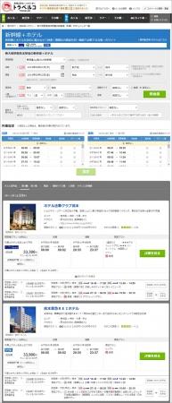 新幹線+ホテル 検索結果一覧ページ 一例