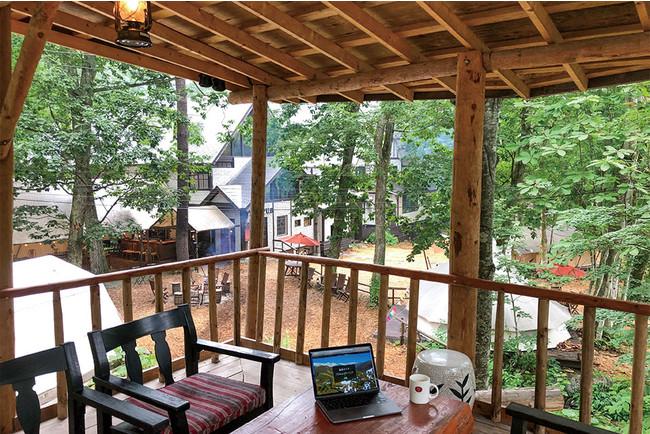 宿泊客は誰でもツリーハウスを利用できる(WIfiと電源完備)