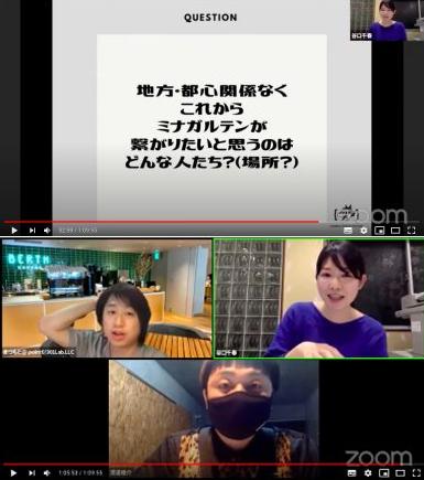 COMMIX RADIO STATION 前回配信の様子。広島県内/県 外からそれぞれゲストを招き、 両者が繋がる場所とする。