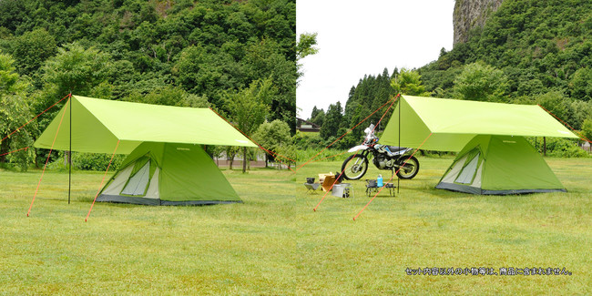 クレセント 3人用ドームテント(グリーン) ソロキャンプ ベーシックパッケージ