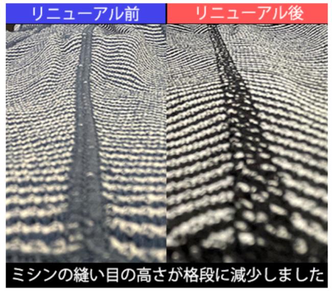 肌面の縫い目の比較写真(左:リニューアル前・右:リニューアル後)