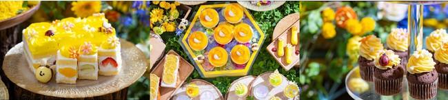 (左)お花畑のフルーツケーキ (中)イメージ (右)オレンジクリームチョコカップケーキ