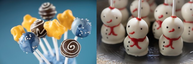 (左)スパークルロリポップブラウニーケーキ      (右)スノーマンロリポップバターケーキ